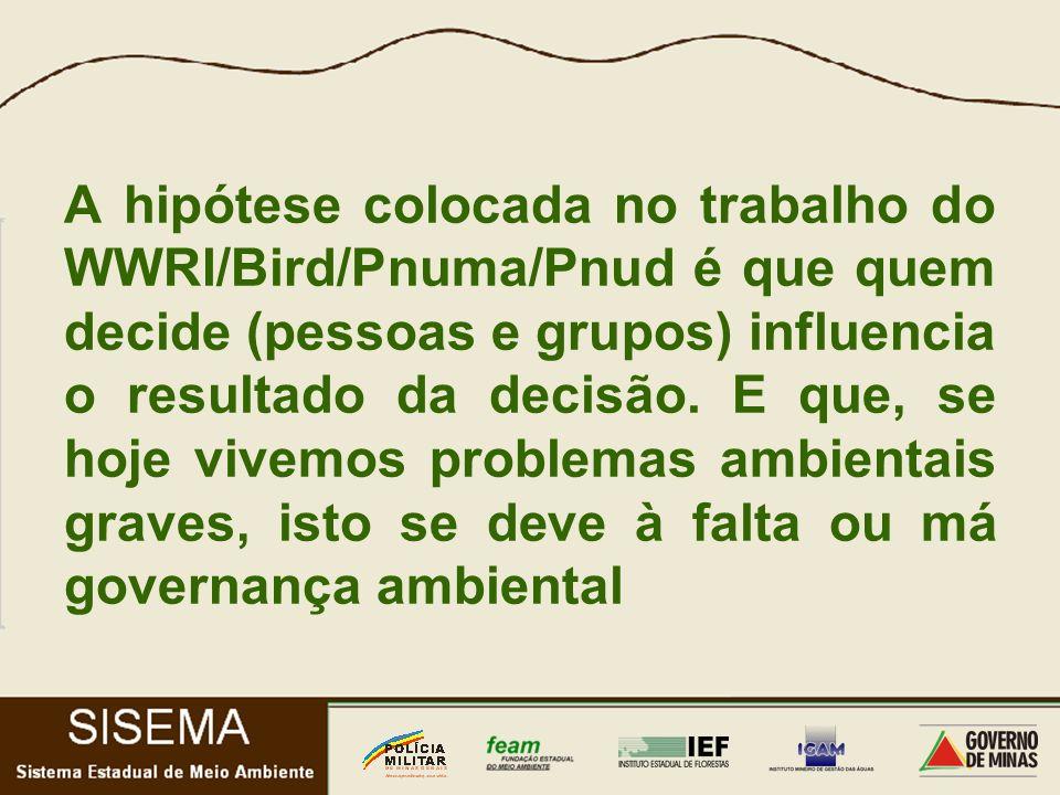 A hipótese colocada no trabalho do WWRI/Bird/Pnuma/Pnud é que quem decide (pessoas e grupos) influencia o resultado da decisão.