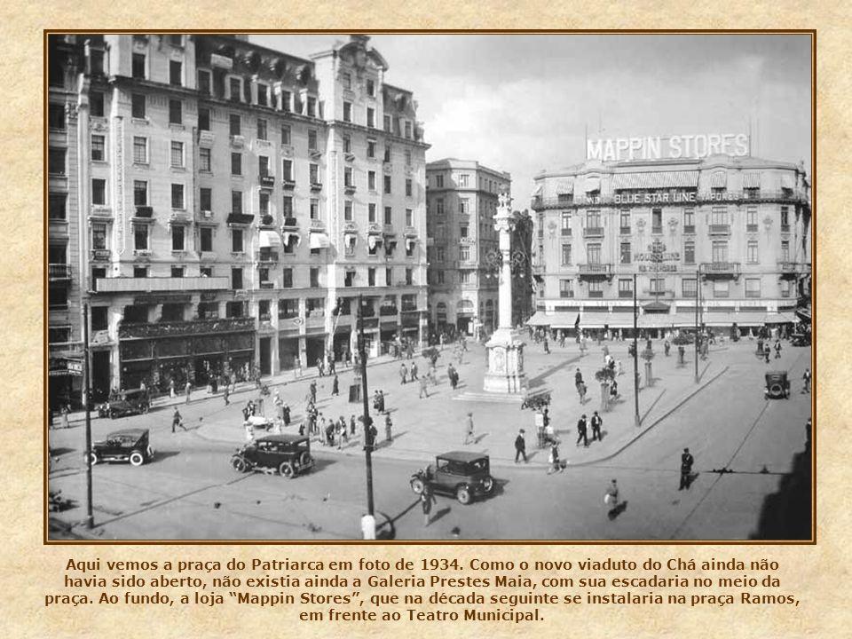 Neste cartão postal, do início dos anos 30, o palacete Santa Helena, na praça da Sé, um luxuoso edifício construído nos anos 20, onde funcionou o Cine