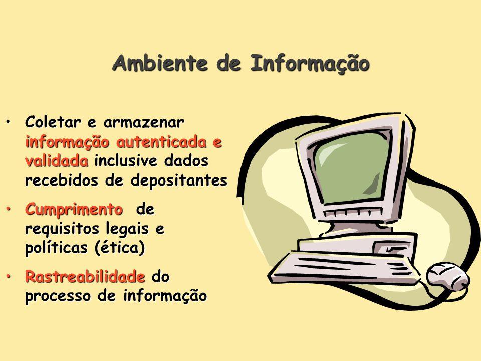 Ambiente de Informação Coletar e armazenar informação autenticada e validada inclusive dados recebidos de depositantesColetar e armazenar informação a