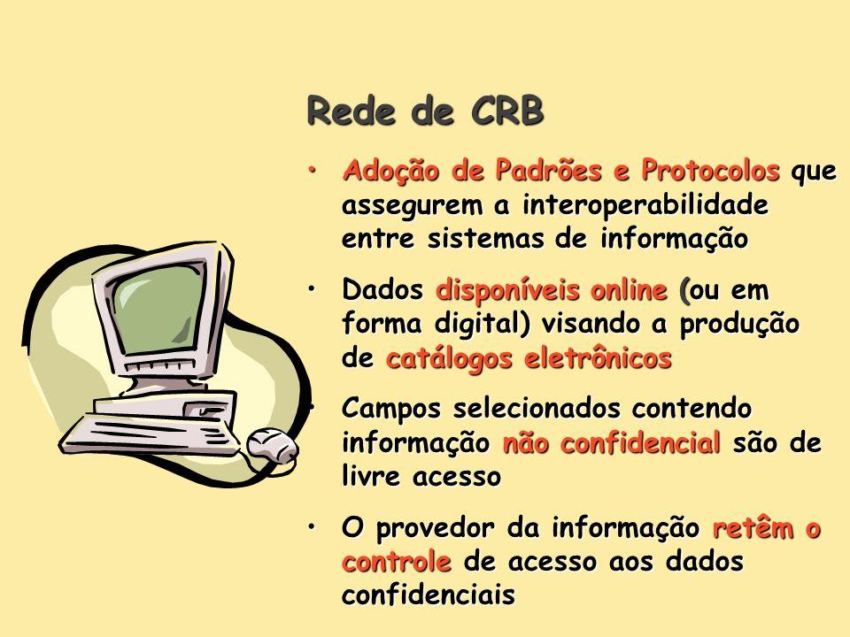 Rede de CRB Adoção de Padrões e Protocolos que assegurem a interoperabilidade entre sistemas de informaçãoAdoção de Padrões e Protocolos que assegurem
