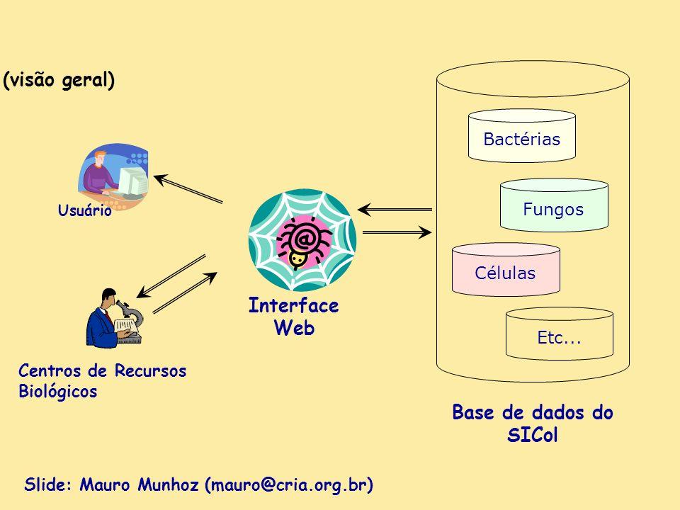 SICol (visão geral) Interface Web Bactérias Fungos Células Etc... Base de dados do SICol Centros de Recursos Biológicos Usuário Slide: Mauro Munhoz (m