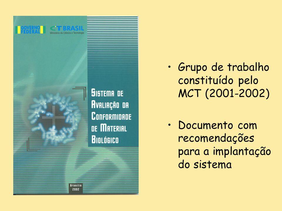 Grupo de trabalho constituído pelo MCT (2001-2002) Documento com recomendações para a implantação do sistema