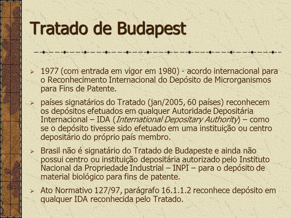 Tratado de Budapest 1977 (com entrada em vigor em 1980) - acordo internacional para o Reconhecimento Internacional do Depósito de Microrganismos para