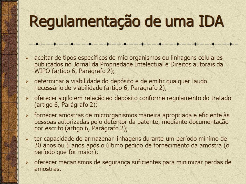 Regulamentação de uma IDA aceitar de tipos específicos de microrganismos ou linhagens celulares publicados no Jornal da Propriedade Intelectual e Dire