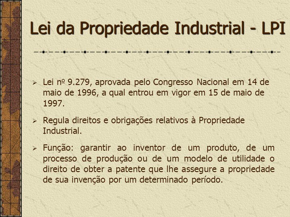 Lei da Propriedade Industrial - LPI Lei n o 9.279, aprovada pelo Congresso Nacional em 14 de maio de 1996, a qual entrou em vigor em 15 de maio de 199
