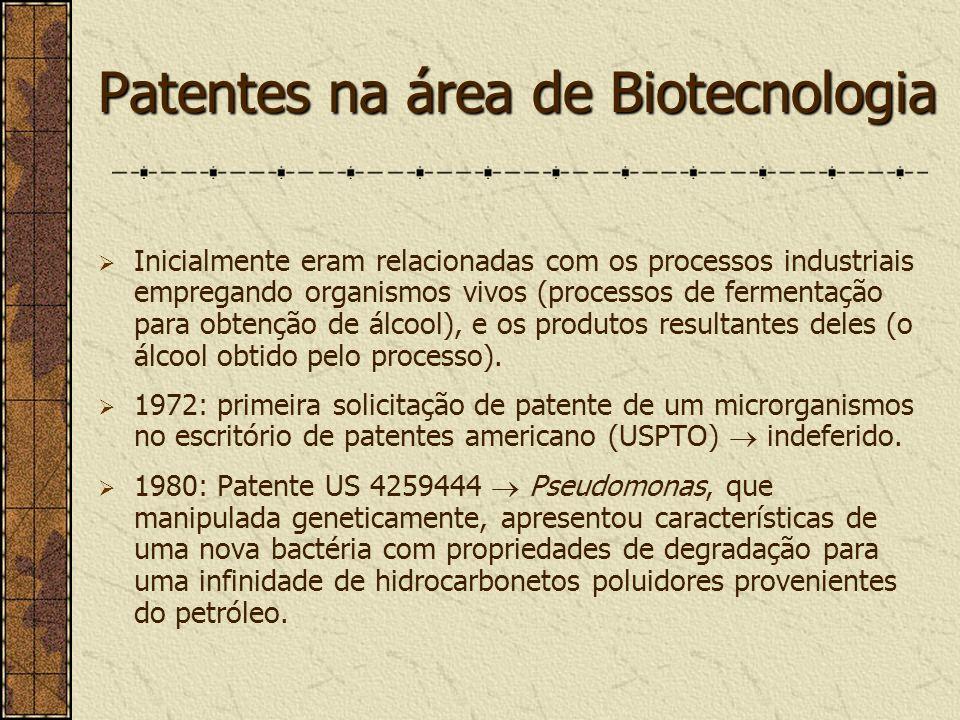Patentes na área de Biotecnologia incluem organismos vivos, processo para obtenção de organismos vivos, produtos novos obtidos a partir de microrganismos, novas utilizações para os produtos obtidos pelos microrganismos e, processos de fermentação.