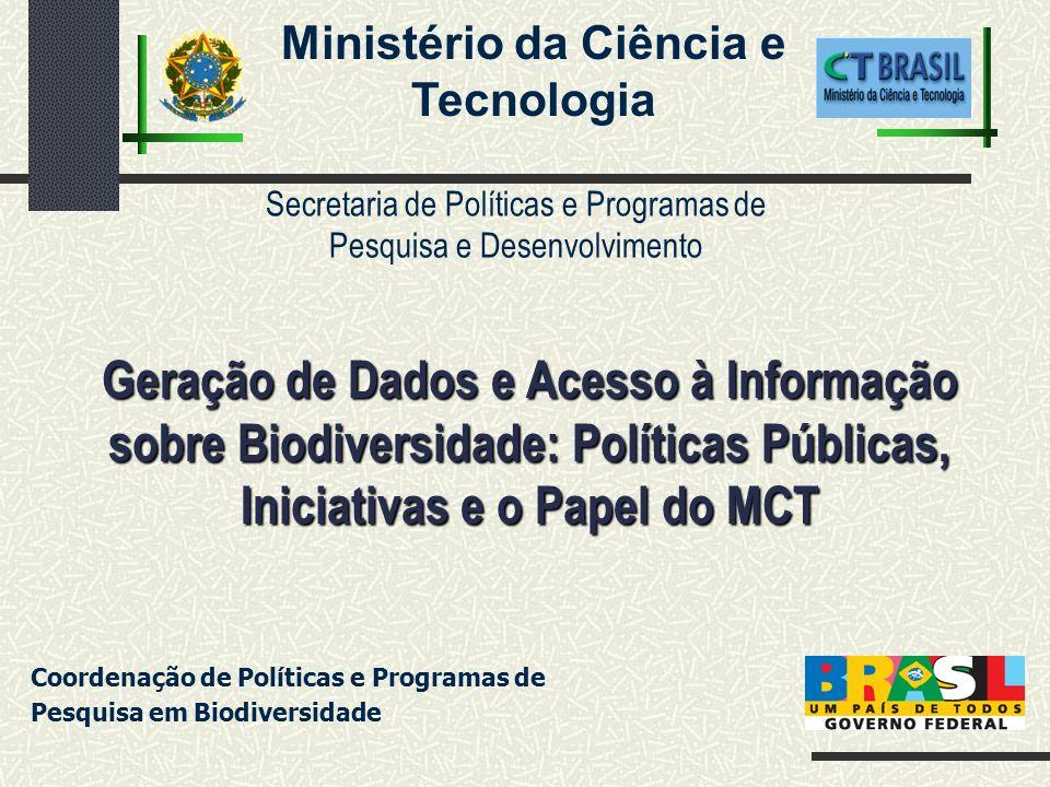 Programa Flora (CNPq 80) Programa Nacional de Zoologia (CNPq 80) Programa Setorial de Coleções de Cultura (PSCC) (Finep 80) Ação de apoio à coleções microbiológicas no PPA 1999 - 2003 (SiCol) Coordenação da câmara técnica de coleções da CONABIO Editais de apoio às coleções (CNPq/CT-BIOTEC/2005) Investimentos diretos pela CGBD beneficiando 23 coleções Definição do Ponto focal do GTI no Brasil (SEPED/CGBD) Aprovação de ações voltadas para coleções e para sistemas de informação no PANBIO (Plano Nacional de Ações da PNB) Inclusão do MCT no comitê gestor do SINIMA CENÁRIO RECENTE