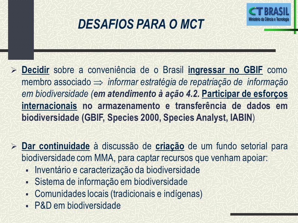 Decidir sobre a conveniência de o Brasil ingressar no GBIF como membro associado informar estratégia de repatriação de informação em biodiversidade ( em atendimento à ação 4.2.