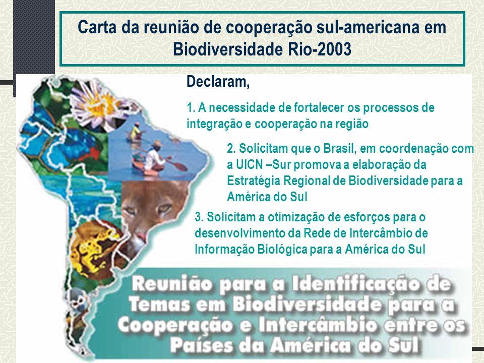 Carta da reunião de cooperação sul-americana em Biodiversidade Rio-2003 Declaram, 1.