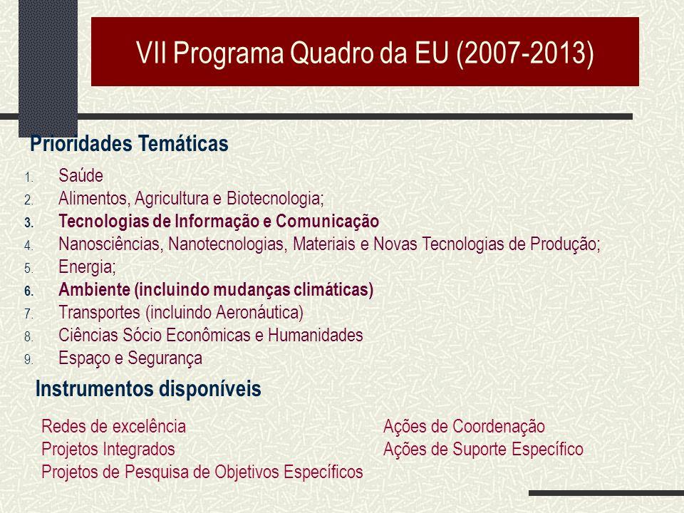 VII Programa Quadro da EU (2007-2013) 1. Saúde 2.