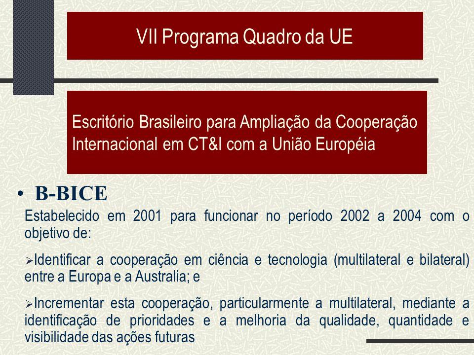 VII Programa Quadro da UE Escritório Brasileiro para Ampliação da Cooperação Internacional em CT&I com a União Européia B-BICE Estabelecido em 2001 para funcionar no período 2002 a 2004 com o objetivo de: Identificar a cooperação em ciência e tecnologia (multilateral e bilateral) entre a Europa e a Australia; e Incrementar esta cooperação, particularmente a multilateral, mediante a identificação de prioridades e a melhoria da qualidade, quantidade e visibilidade das ações futuras