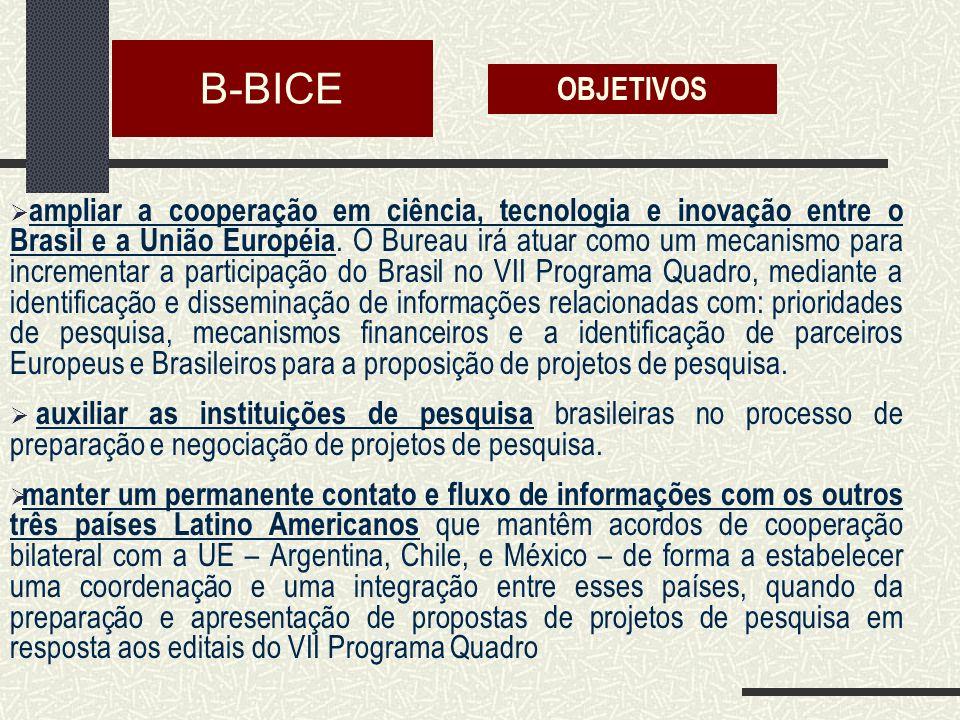 B-BICE ampliar a cooperação em ciência, tecnologia e inovação entre o Brasil e a União Européia.