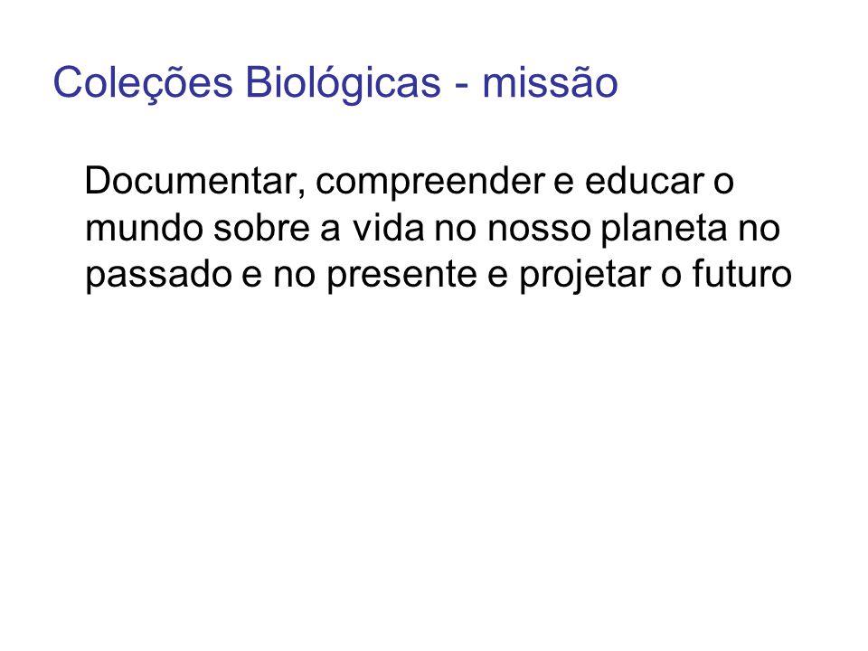 Coleções Biológicas - missão Documentar, compreender e educar o mundo sobre a vida no nosso planeta no passado e no presente e projetar o futuro