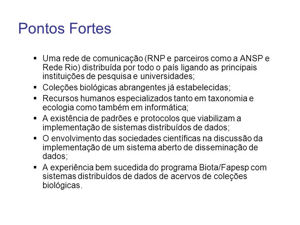 Pontos Fortes Uma rede de comunicação (RNP e parceiros como a ANSP e Rede Rio) distribuída por todo o país ligando as principais instituições de pesqu