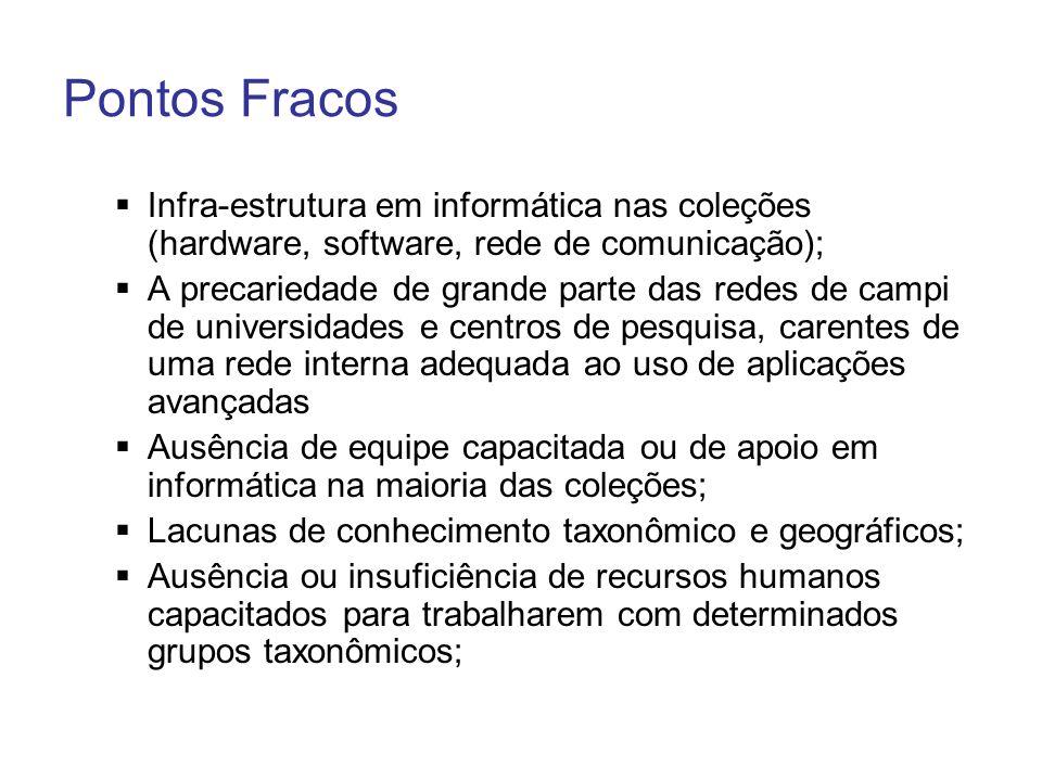 Pontos Fracos Infra-estrutura em informática nas coleções (hardware, software, rede de comunicação); A precariedade de grande parte das redes de campi