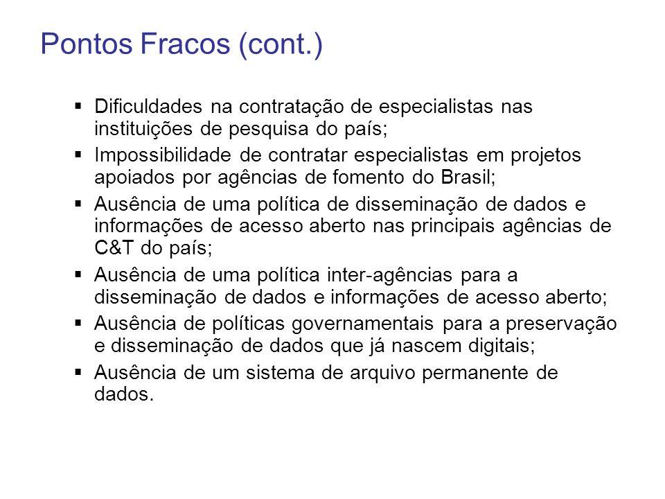 Pontos Fracos (cont.) Dificuldades na contratação de especialistas nas instituições de pesquisa do país; Impossibilidade de contratar especialistas em