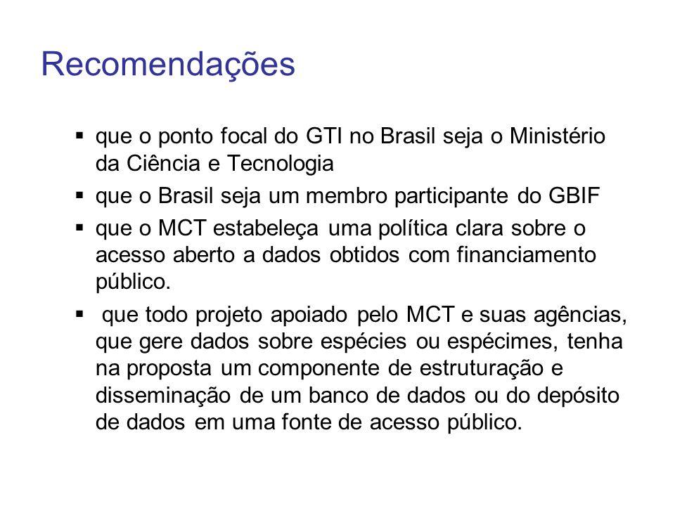 Recomendações que o ponto focal do GTI no Brasil seja o Ministério da Ciência e Tecnologia que o Brasil seja um membro participante do GBIF que o MCT