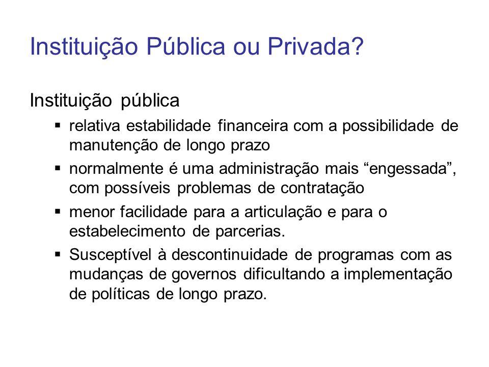 Instituição Pública ou Privada? Instituição pública relativa estabilidade financeira com a possibilidade de manutenção de longo prazo normalmente é um