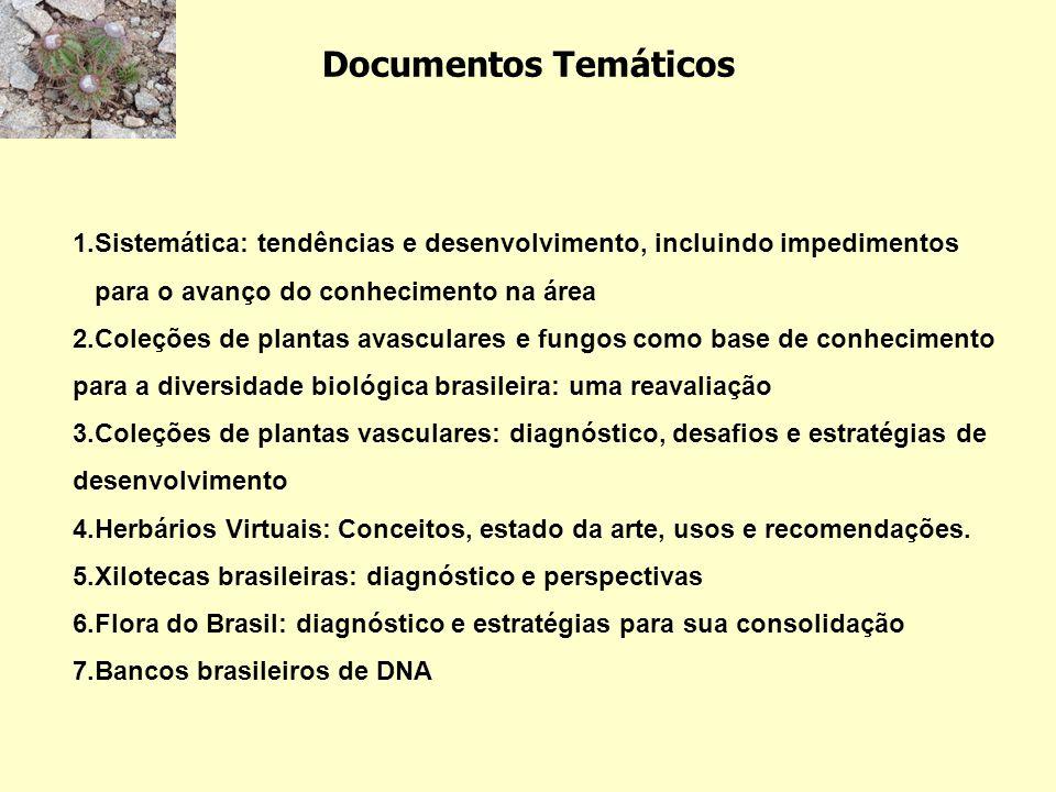 Documentos Temáticos 1.Sistemática: tendências e desenvolvimento, incluindo impedimentos para o avanço do conhecimento na área 2.Coleções de plantas a