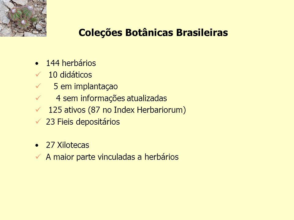 Tamanho do acervo 81,6% dos herbários até 50 mil espécimes 58 até 10 mil exemplares 12 de 10 a 20 mil 11 de 20 a 30 mil 9 de 30 a 40 mil 5 de 40 a 50 mil 18,4% (25) com mais de 50 mil espécimes 16 (12%) mais de 100 mil espécimes 70 mil amostras de madeiras em xilotecas (a maior do mundo tem 105 mil)