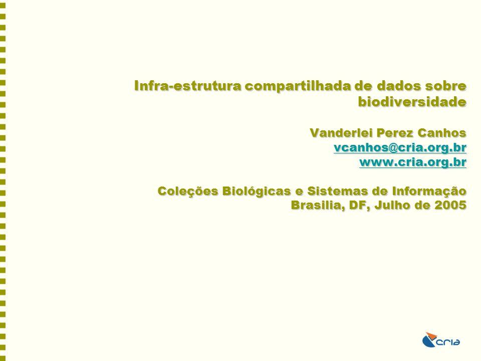 Infra-estrutura compartilhada de dados sobre biodiversidade Vanderlei Perez Canhos vcanhos@cria.org.br www.cria.org.br Coleções Biológicas e Sistemas