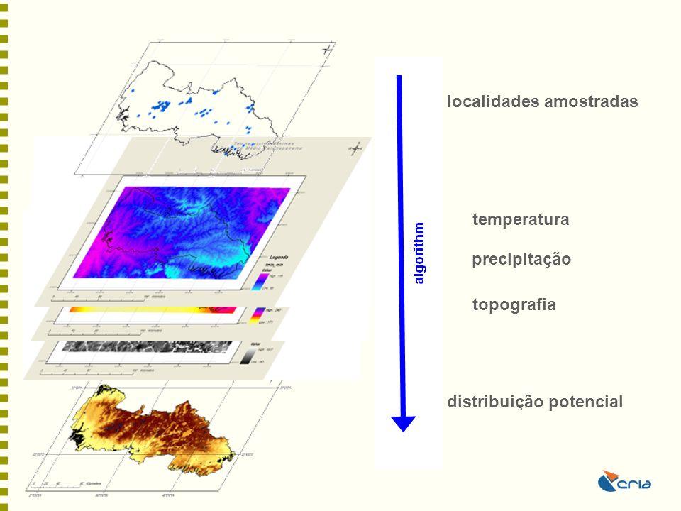 localidades amostradas distribuição potencial temperatura precipitação topografia