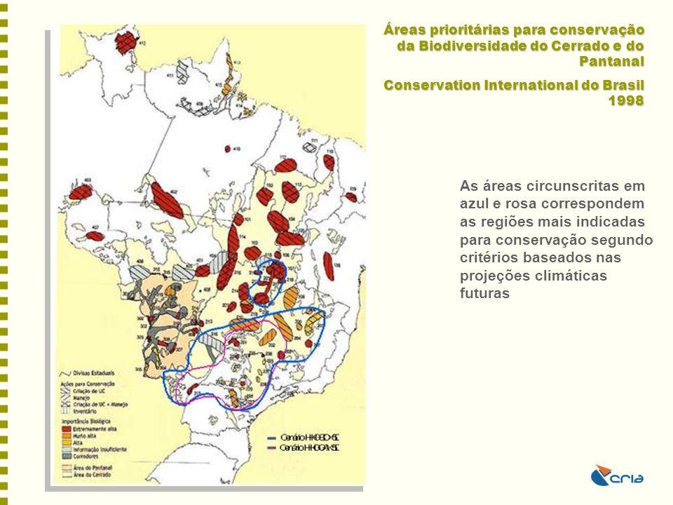 Áreas prioritárias para conservação da Biodiversidade do Cerrado e do Pantanal Conservation International do Brasil 1998 As áreas circunscritas em azu