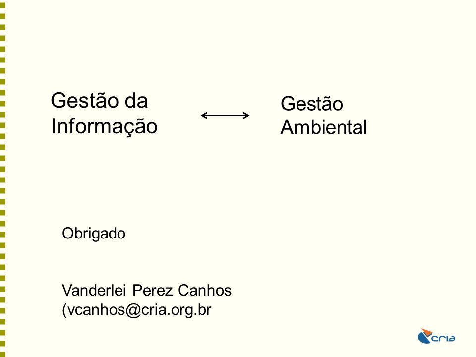Gestão da Informação Gestão Ambiental Obrigado Vanderlei Perez Canhos (vcanhos@cria.org.br
