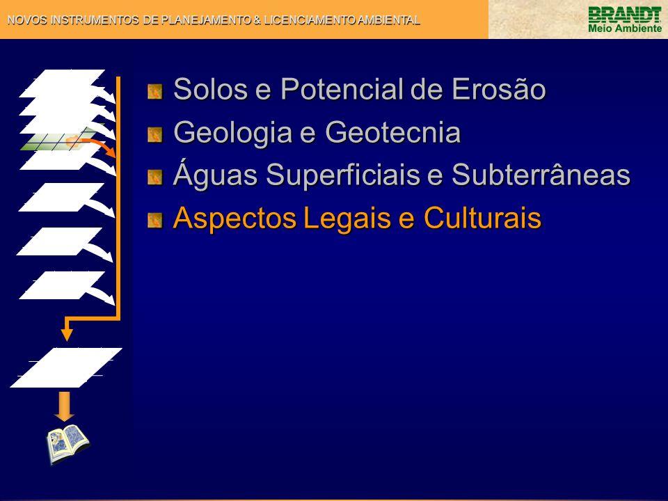 NOVOS INSTRUMENTOS DE PLANEJAMENTO & LICENCIAMENTO AMBIENTAL Solos e Potencial de Erosão Geologia e Geotecnia Águas Superficiais e Subterrâneas Aspect