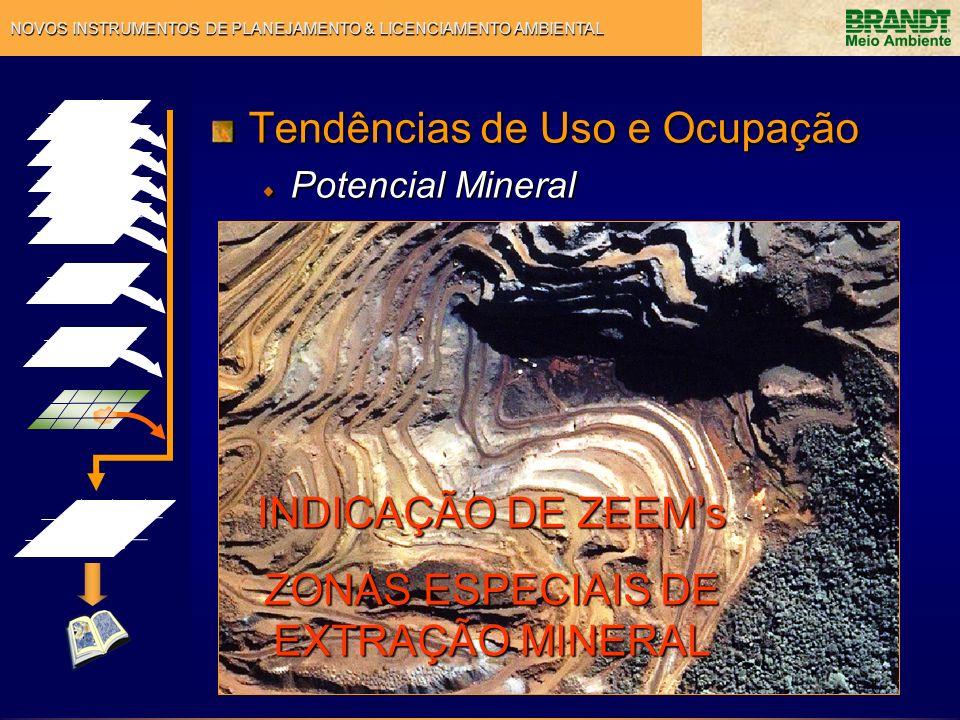 NOVOS INSTRUMENTOS DE PLANEJAMENTO & LICENCIAMENTO AMBIENTAL Tendências de Uso e Ocupação Potencial Mineral INDICAÇÃO DE ZEEMs ZONAS ESPECIAIS DE EXTR