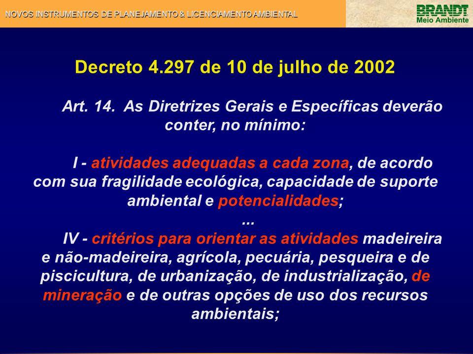 Decreto 4.297 de 10 de julho de 2002 Art. 14. As Diretrizes Gerais e Específicas deverão conter, no mínimo: I - atividades adequadas a cada zona, de a