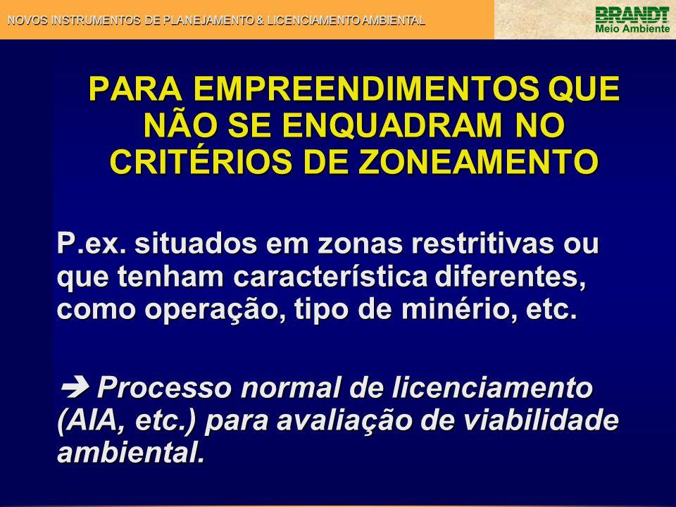 NOVOS INSTRUMENTOS DE PLANEJAMENTO & LICENCIAMENTO AMBIENTAL PARA EMPREENDIMENTOS QUE NÃO SE ENQUADRAM NO CRITÉRIOS DE ZONEAMENTO P.ex. situados em zo