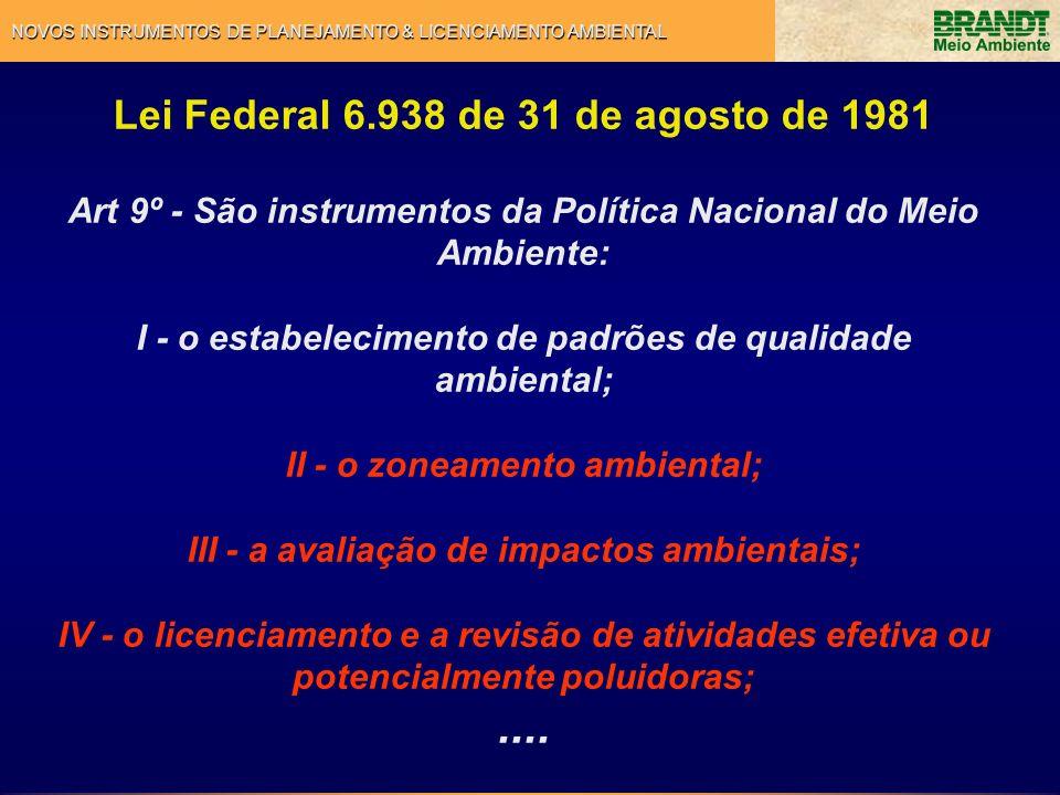 NOVOS INSTRUMENTOS DE PLANEJAMENTO & LICENCIAMENTO AMBIENTAL Decreto 4.297 de 10 de julho de 2002 Art.
