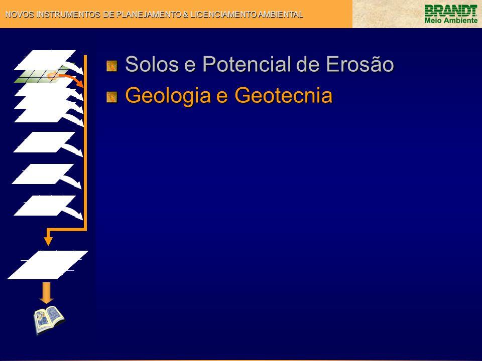 NOVOS INSTRUMENTOS DE PLANEJAMENTO & LICENCIAMENTO AMBIENTAL Solos e Potencial de Erosão Geologia e Geotecnia
