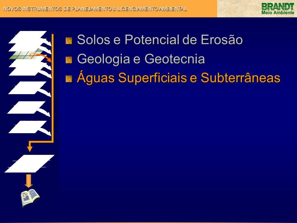 NOVOS INSTRUMENTOS DE PLANEJAMENTO & LICENCIAMENTO AMBIENTAL Solos e Potencial de Erosão Geologia e Geotecnia Águas Superficiais e Subterrâneas Aspectos Legais e Culturais