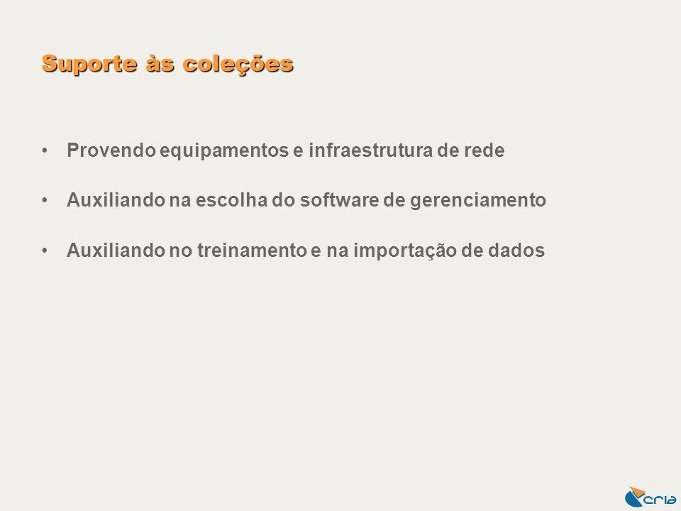 Suporte às coleções Provendo equipamentos e infraestrutura de rede Auxiliando na escolha do software de gerenciamento Auxiliando no treinamento e na i
