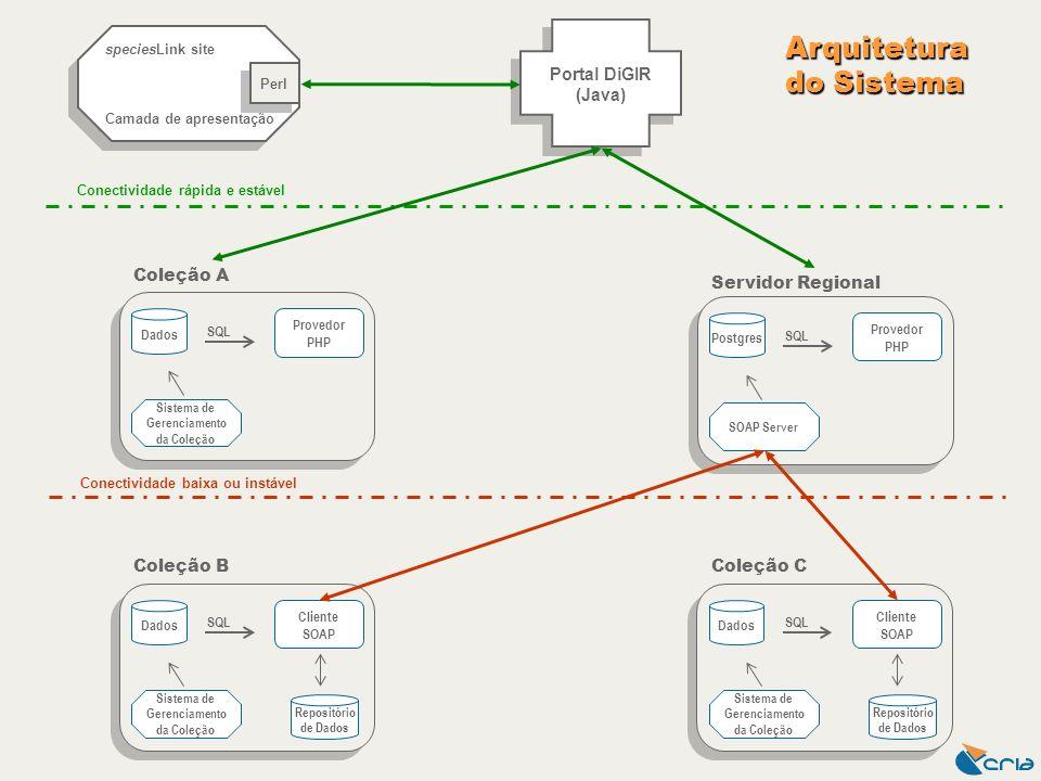 speciesLink site Camada de apresentação speciesLink site Camada de apresentação Portal DiGIR (Java) Perl Conectividade baixa ou instável Conectividade