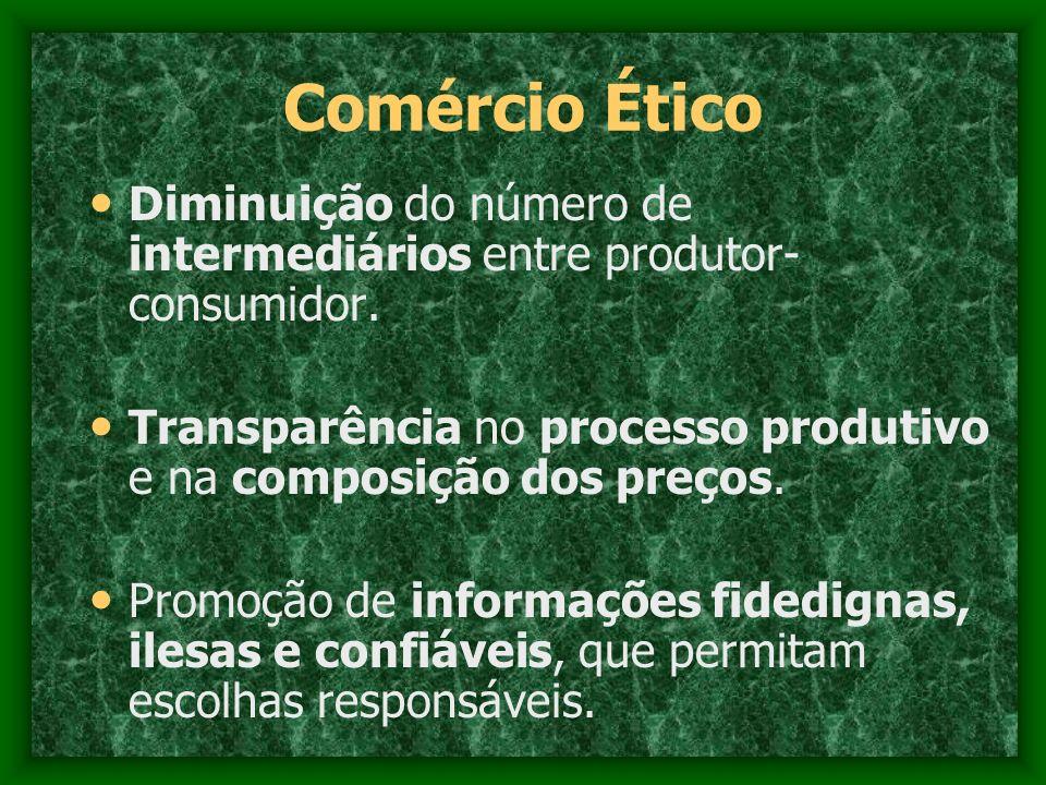 Comércio Ético Diminuição do número de intermediários entre produtor- consumidor. Transparência no processo produtivo e na composição dos preços. Prom