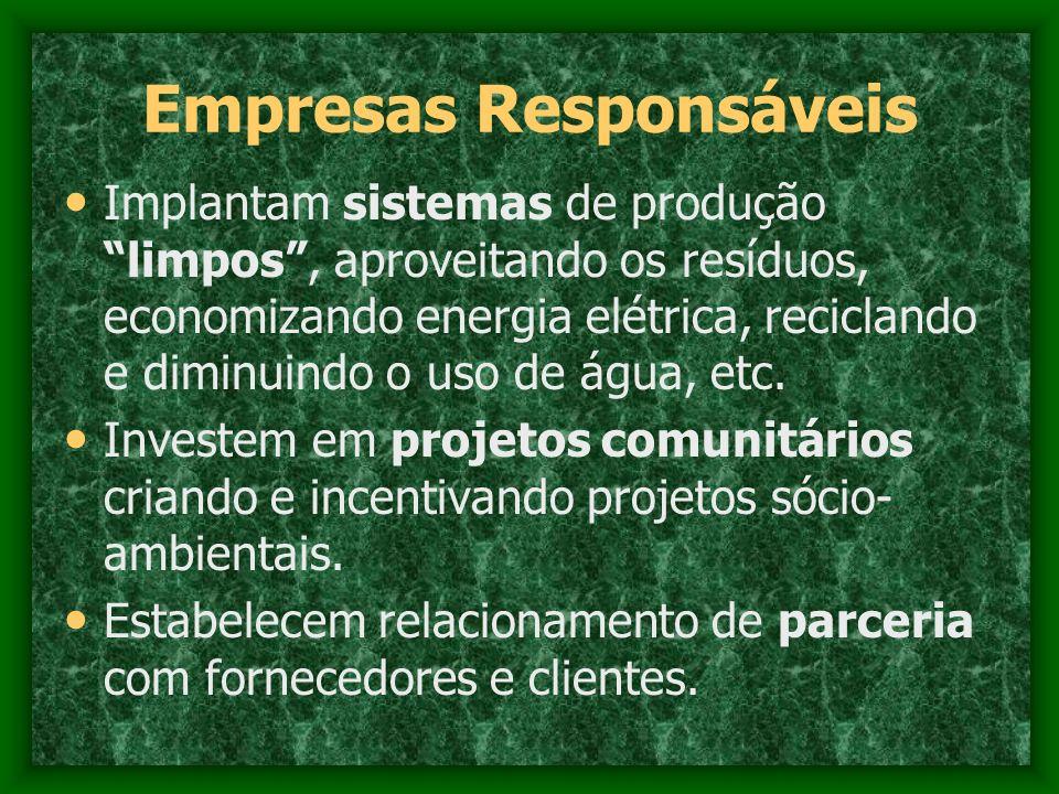 Empresas Responsáveis Implantam sistemas de produção limpos, aproveitando os resíduos, economizando energia elétrica, reciclando e diminuindo o uso de
