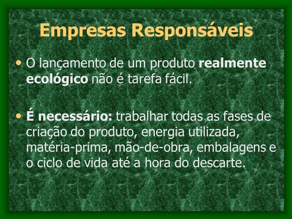 Empresas Responsáveis O lançamento de um produto realmente ecológico não é tarefa fácil. É necessário: trabalhar todas as fases de criação do produto,