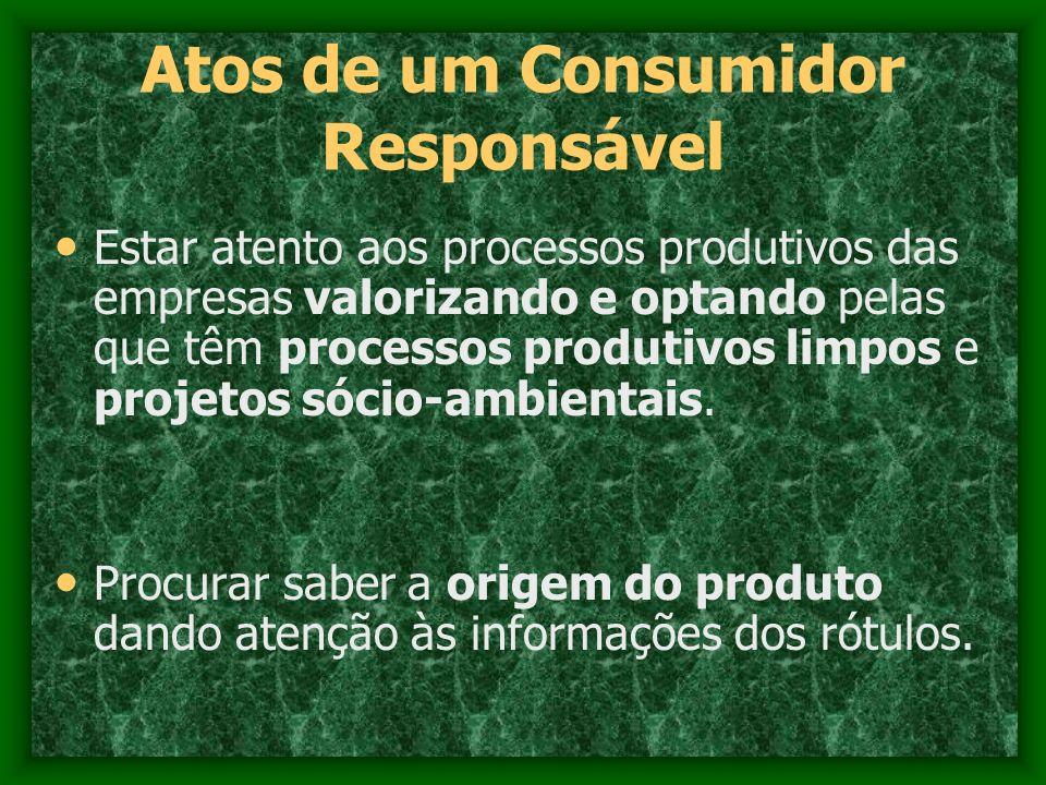 Atos de um Consumidor Responsável Estar atento aos processos produtivos das empresas valorizando e optando pelas que têm processos produtivos limpos e