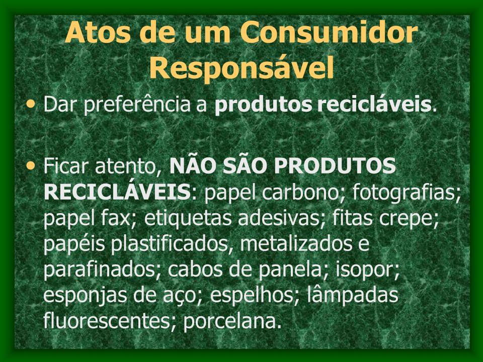 Atos de um Consumidor Responsável Dar preferência a produtos recicláveis. Ficar atento, NÃO SÃO PRODUTOS RECICLÁVEIS: papel carbono; fotografias; pape
