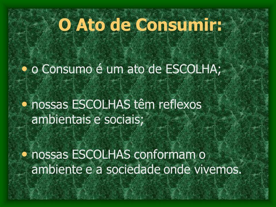 O Ato de Consumir: o Consumo é um ato de ESCOLHA; nossas ESCOLHAS têm reflexos ambientais e sociais; nossas ESCOLHAS conformam o ambiente e a sociedad
