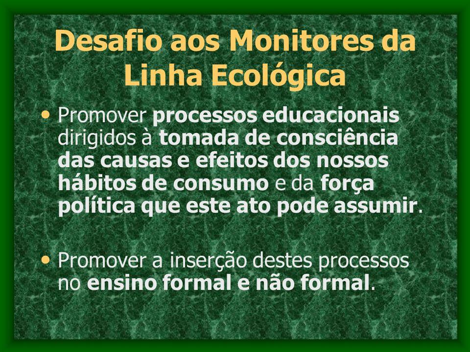 Desafio aos Monitores da Linha Ecológica Promover processos educacionais dirigidos à tomada de consciência das causas e efeitos dos nossos hábitos de