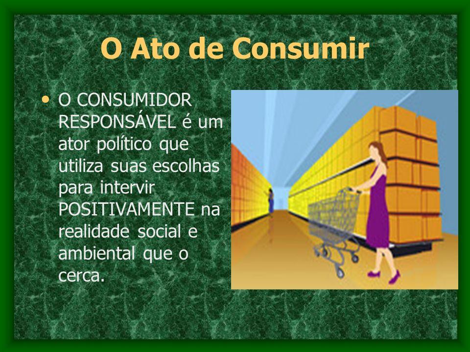 O Ato de Consumir O CONSUMIDOR RESPONSÁVEL é um ator político que utiliza suas escolhas para intervir POSITIVAMENTE na realidade social e ambiental qu
