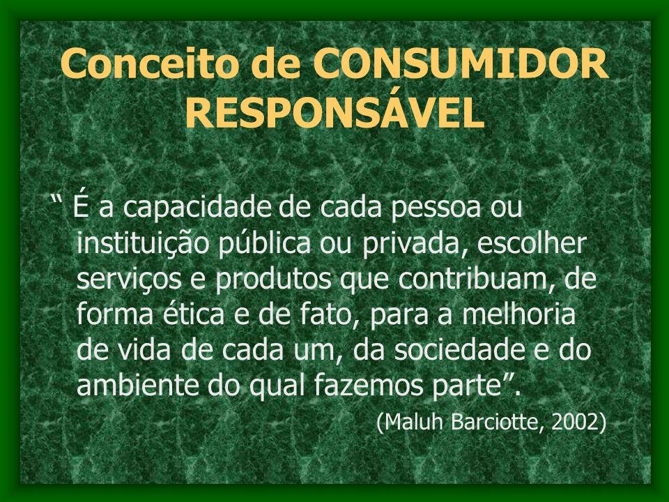 Conceito de CONSUMIDOR RESPONSÁVEL É a capacidade de cada pessoa ou instituição pública ou privada, escolher serviços e produtos que contribuam, de fo