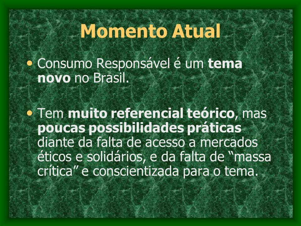 Momento Atual Consumo Responsável é um tema novo no Brasil. Tem muito referencial teórico, mas poucas possibilidades práticas diante da falta de acess