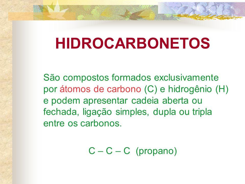 HIDROCARBONETOS São compostos formados exclusivamente por átomos de carbono (C) e hidrogênio (H) e podem apresentar cadeia aberta ou fechada, ligação simples, dupla ou tripla entre os carbonos.