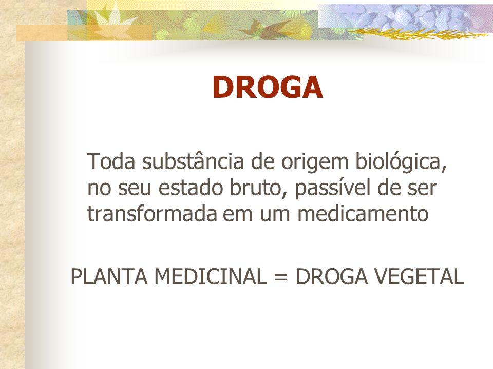 DROGA Toda substância de origem biológica, no seu estado bruto, passível de ser transformada em um medicamento PLANTA MEDICINAL = DROGA VEGETAL