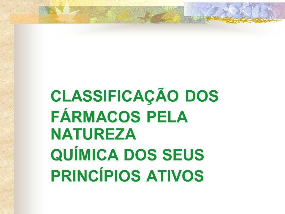 CLASSIFICAÇÃO DOS FÁRMACOS PELA NATUREZA QUÍMICA DOS SEUS PRINCÍPIOS ATIVOS